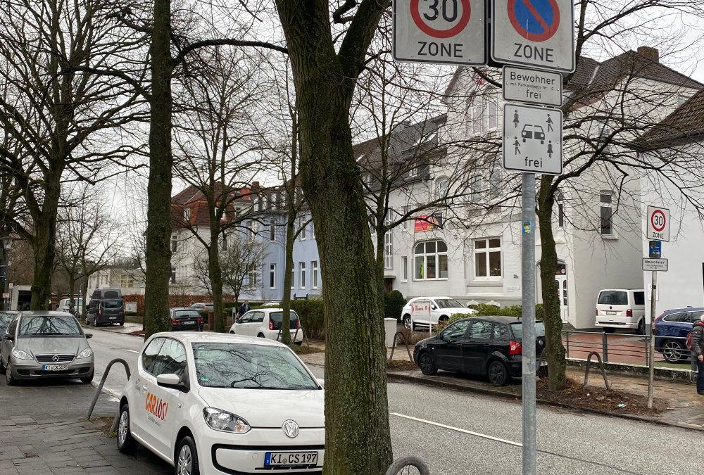 Abstellen von Car.Los-Fahrzeugen in Bewohnerparkzonen